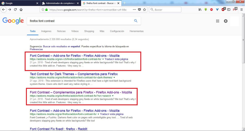 si buscamos en google el nombre de la extesion y la palabra firefox nos aparecen busquedas relacionadas directamente