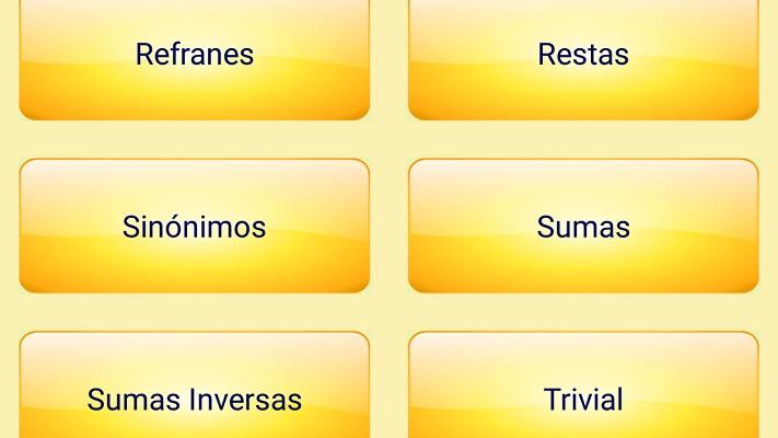 terceras categorias: refranes, restas, sinonimos, sumas, sumas inversas y trivial