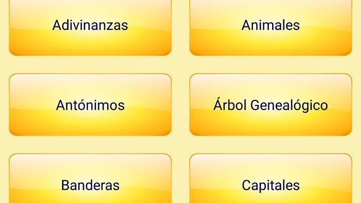 primeras categorias: adivinanzas, animales, antonimos, arbol genealogico, banderas y capitales
