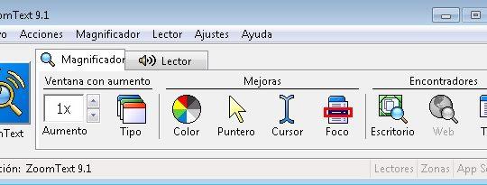 pantalla principal de zoomtext
