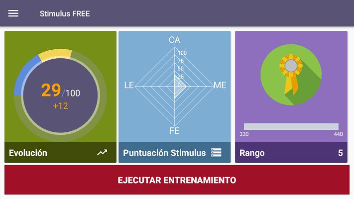 pantalla menu principal de la app
