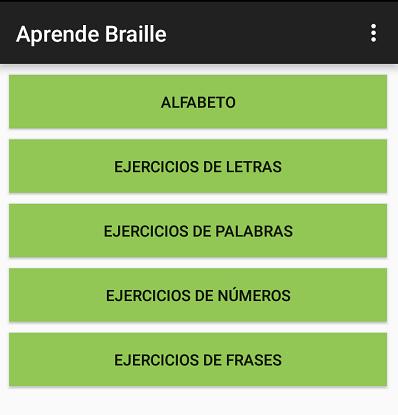 pantalla principal de aprende braille