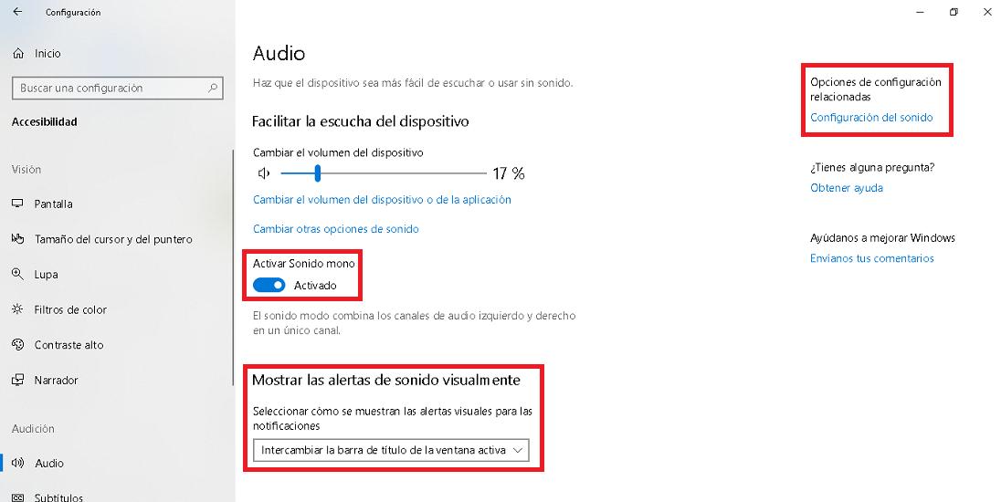 opciones de accesibilidad de audio en windows 10