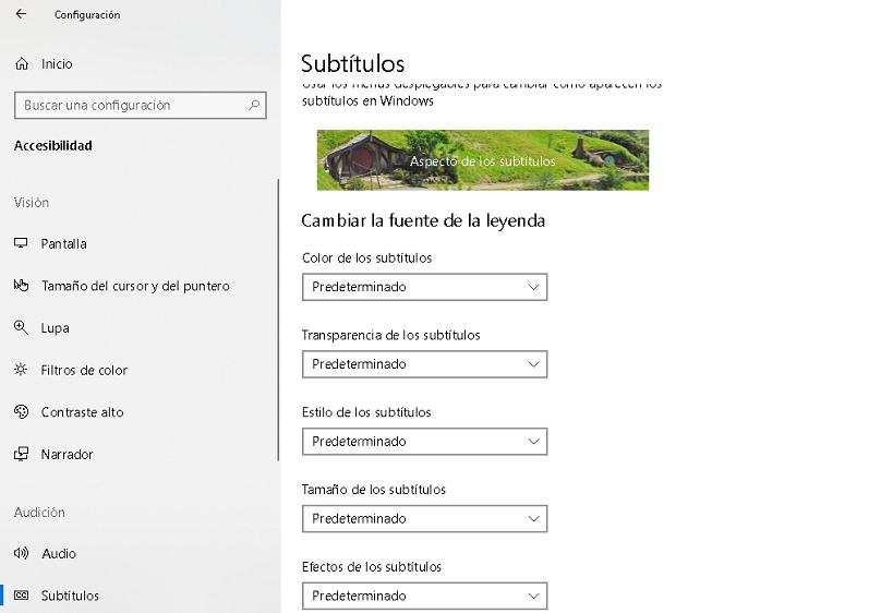 opciones de accesibilidad en subtitulos para windows 10