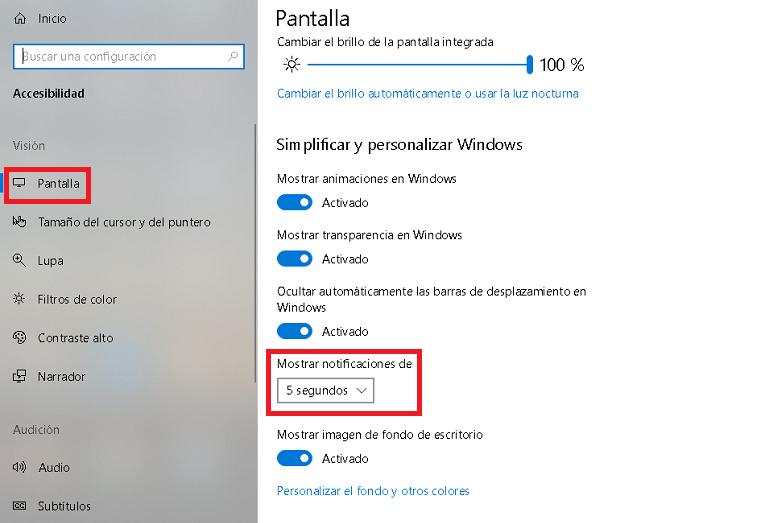 en Pantalla podemos cambiar la duracion de las notificaciones visuales