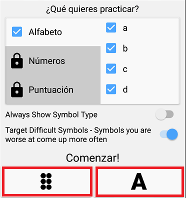 elegir el modo de practica en braille