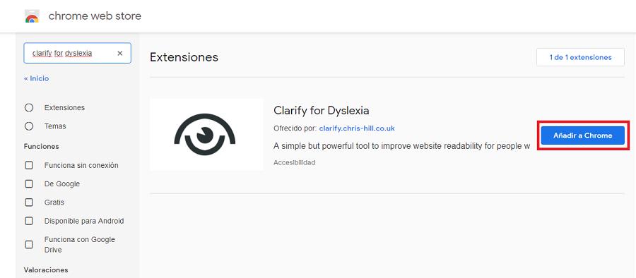 instalacion de la extension para dislexia