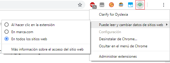 opciones de la extension clarify