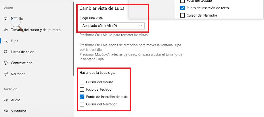 opciones finales de accesibilidad lupa en windows