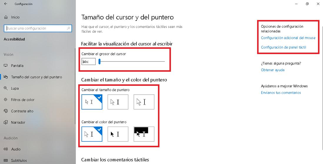 opciones de accesibilidad referidas al cursor y puntero