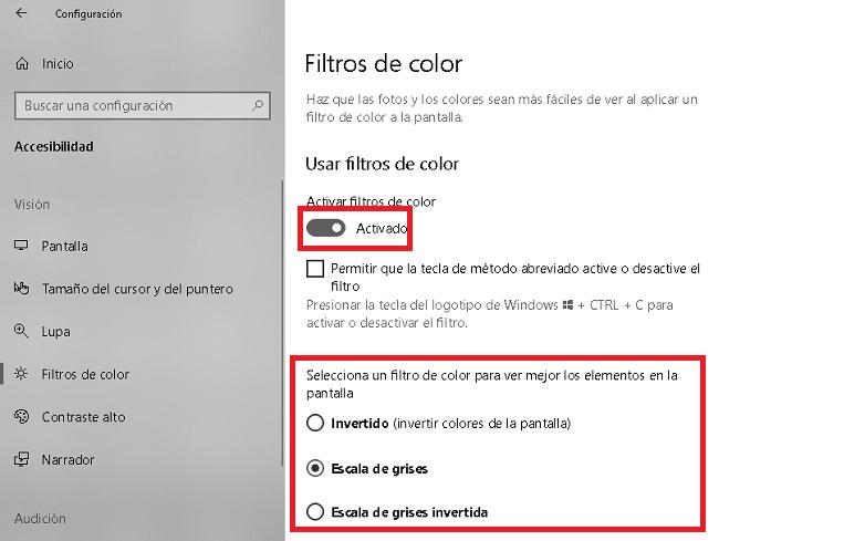 opciones de accesibilidad en windows referidas a filtros de colores