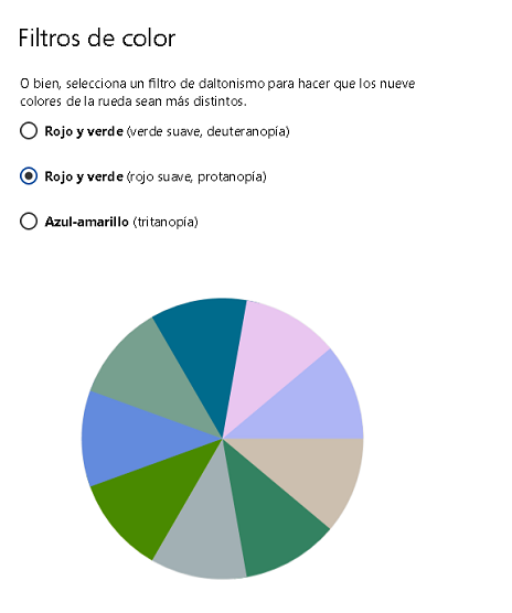opciones de accesibilidad en windows para personas daltonicas