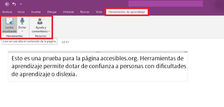 Pantalla de herramientas de aprendizaje en One Note para Windows 10