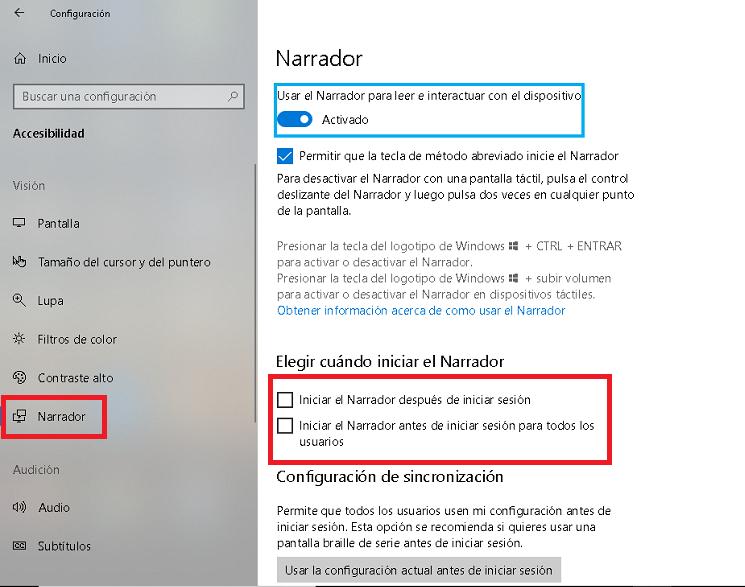 primeras opciones del narrador en windows