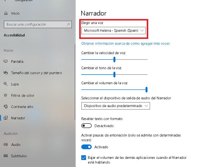 opciones de voz en el narrador de windows