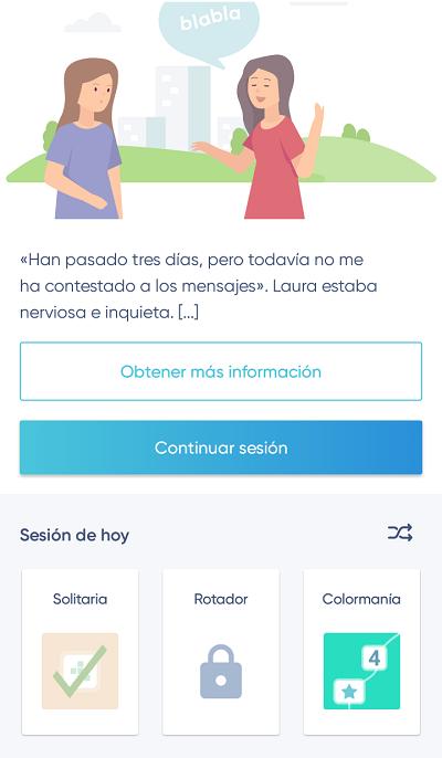 pantalla de app neuronation para demencia, modo de entrenamiento