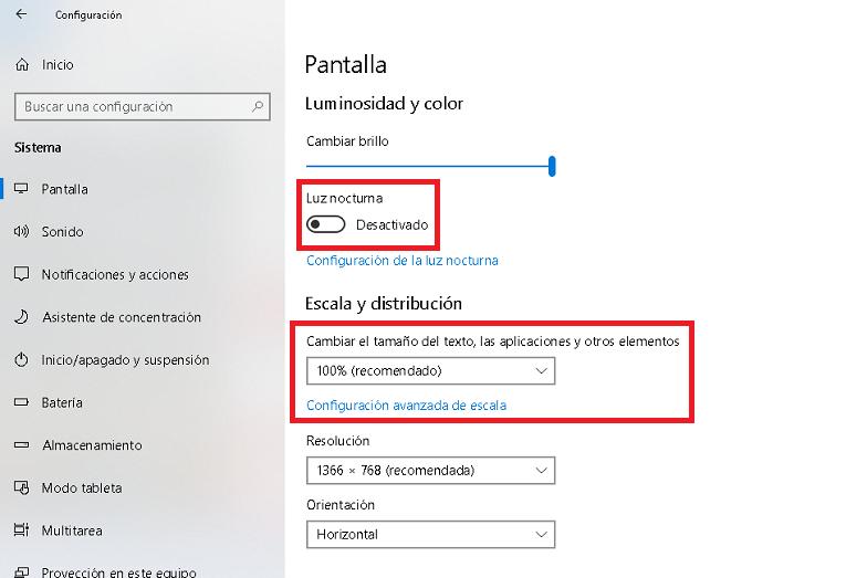 opciones avanzadas de accesibilidad en pantalla