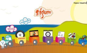 pantalla principial de sigueme, app para niños con autismo