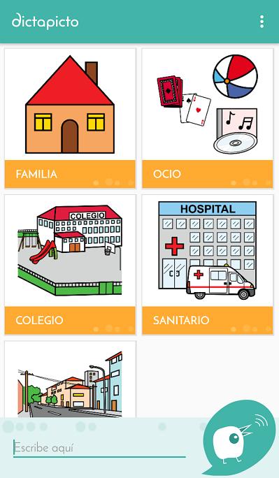 panel principal de la app dictapicto para autismo