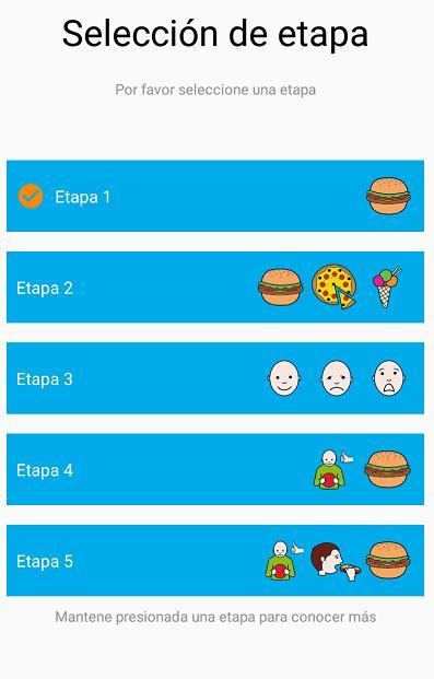 Distintos niveles que facilita el aprendizaje de la app a niños con autismo
