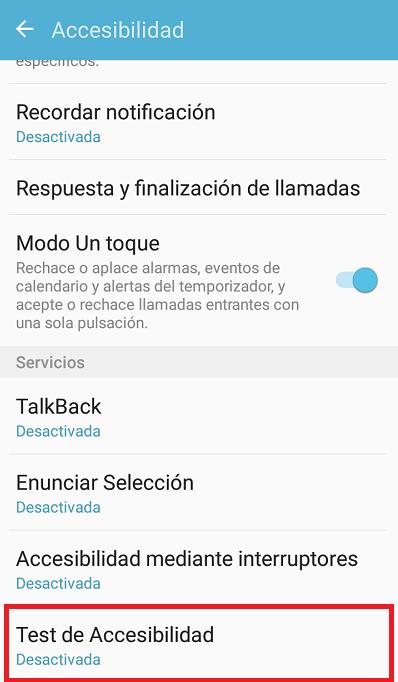 pantalla de activacion de test de accesibilidad en android