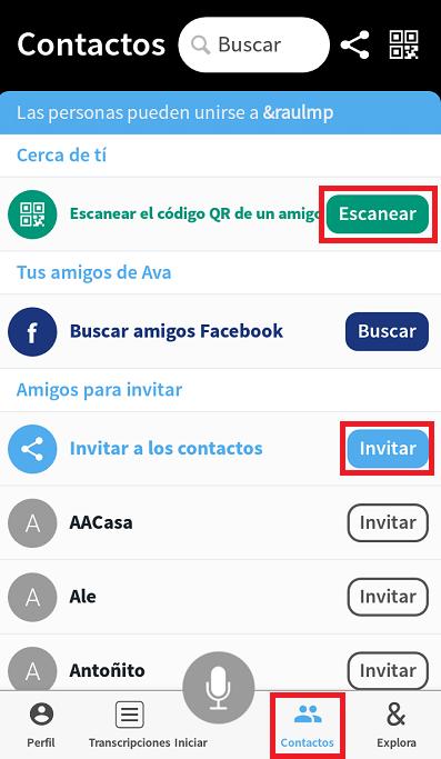 pantalla de contactos para invitar a otras personas a la aplicacion