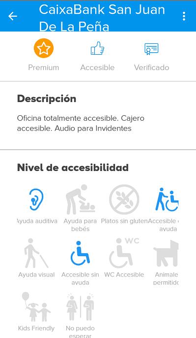 pantalla de establecimiento, con los criterios de accesibilidad que cumple