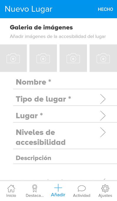pantalla para añadir lugares accesibles en mapp4all