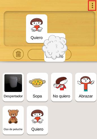 podemos arrastrar los pictogramas para construir frases aac o cambiarlos de lugar