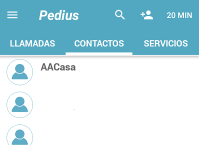 pantalla principal de pedius para hacer llamadas adaptadas a sordos