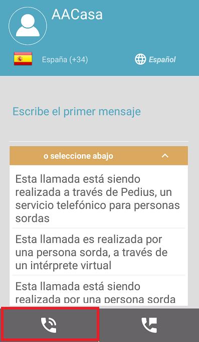 pantalla de llamada de app pedius