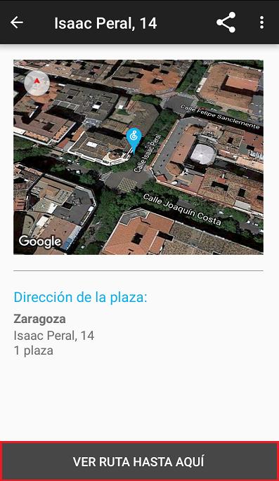 podemos pinchar en la plaza de aparcamiento para que nos aparezca mas al detalle, como el nombre completo de la calle o su posicion en google maps