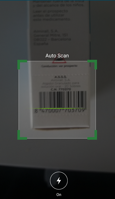 puedes escanear el codigo de barras de un medicamento