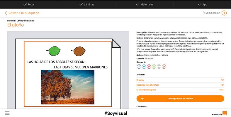 la web de soyvidual fundacion orange ofrece pictogramas, laminas y ejercicios gratuitos para descargar, para ser usados en un entorno de educacion