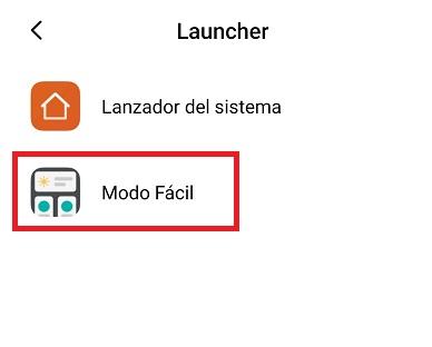en launcher, seleccionad Modo Facil