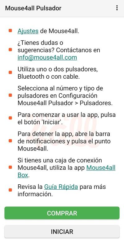 menu principal de app, con explicaciones, guias y ajustes de accesibilidad