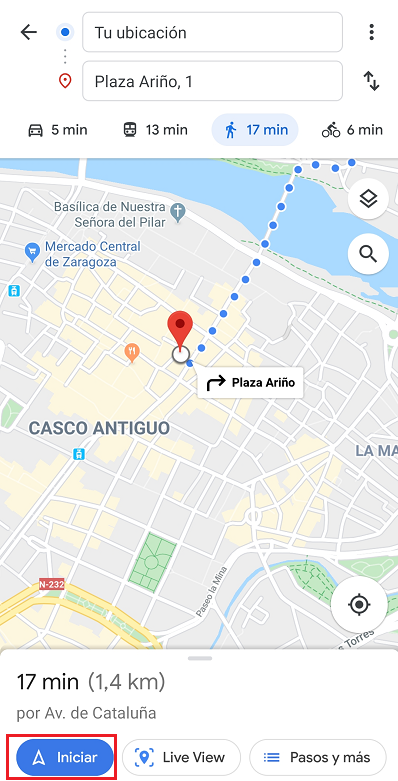 ruta accesible con google maps