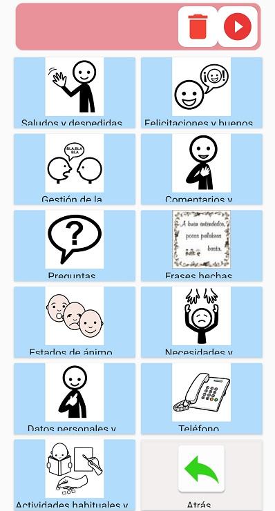 en Comunicador tenemos las frases aac que facilitan la comunicacion