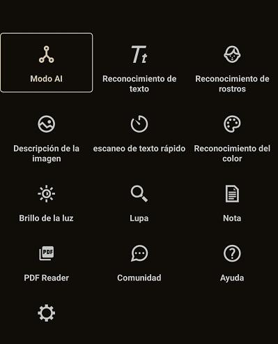 distintas opciones de reconocimiento de texto, colores, objetos o rostros