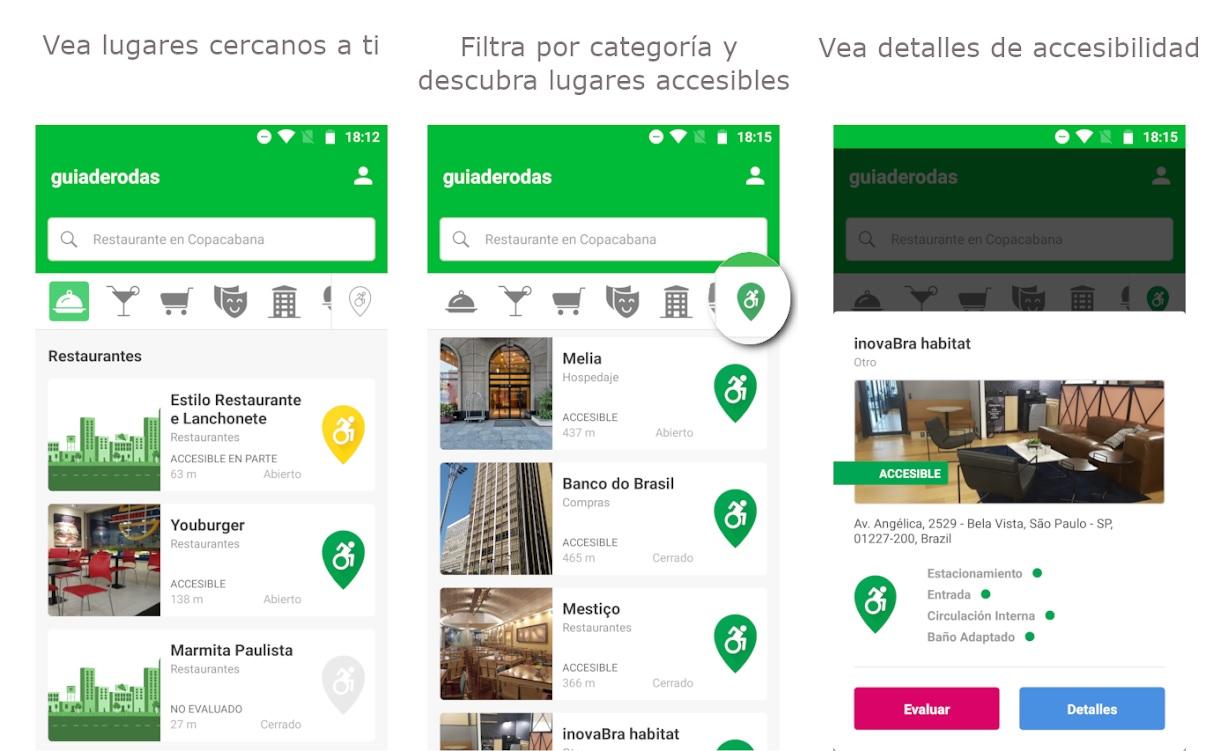 guiaderuedas, app que ayuda a la informacion de accesibilidad de los lugares cercanos a ti