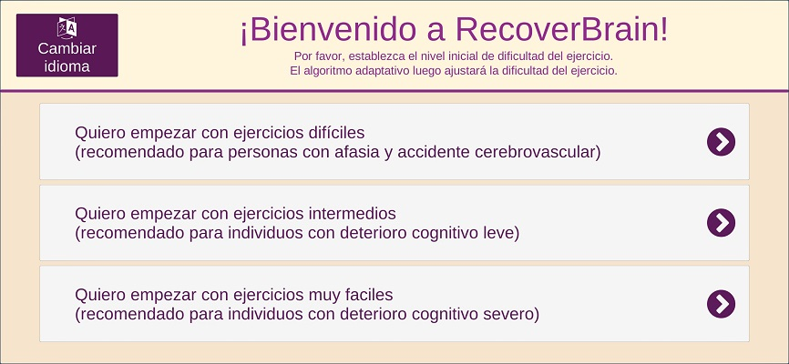 pantalla principal de recoverbrain app de juegos y puzzles para alzheimer, demencia, afasia y accidente cerebrovascular