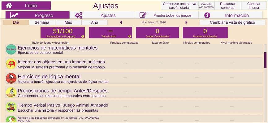 opciones de la aplicacion recoverbrain, rehabilitacion cerebral para alzheimer, demencia, afasia y accidente cerebrovascular